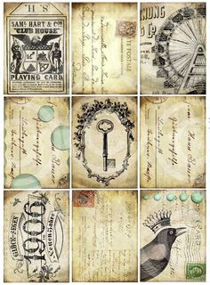 Set of 9 BlackBird CRoWN SKeLeToN KeY CiRCuS CaRNiVaL FeRRiS WHeeL atc aged stained backgrounds antique vintage paper original DIGITAL COLLAGE SHEET altered art hang tags handmade greeting card making supplies hang tags books journals scrapbooking sh1a. $4,29, via Etsy.
