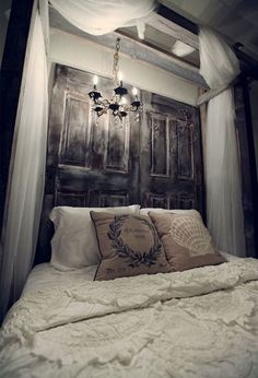 inspire bedroom headboard ideas design... I also live the idea of hanging the light there, a dim one I guess..
