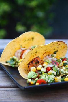 shrimp tacos with poblano corn salsa