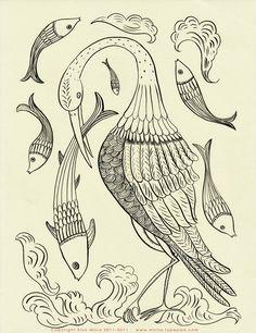 Beautiful Crane Embroidery Pattern