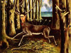 1946 Frida Kahlo Le Cerf blessé, The wounded Stag, Huile sur masonite, 22,4x30 cm. #Art #Mexico #deFharo