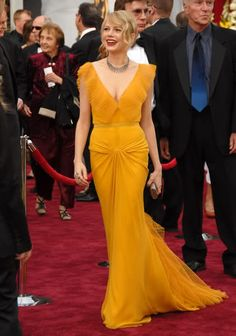 evening dresses, prom gowns, michell william, red carpet looks, oscar dresses, red carpets, michelle williams, mustard yellow, red carpet dresses