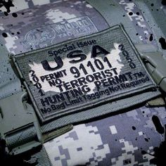 USA Made Terrorist Hunting Permit Army Morale by TacticalTextile, $4.50