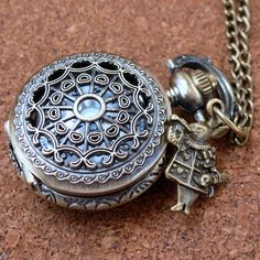 Alice in Wonderland necklace pendant charm locket TEA TIME Steampunk pocket WATCH-- never late for your T E A. $19.99, via Etsy.