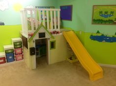 I really wanted a wow factor in my preschool room. I had been researching lofts for months. They simply cost too much for my piggy bank- and none had the slide I wanted. So after several trips to Lowes, and three weeks of work we now have a loft in the preschool!