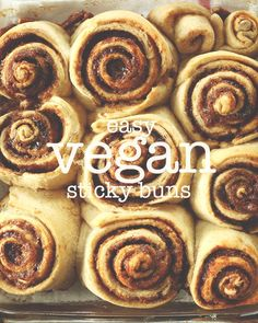 Easy Vegan Sticky Buns! 9 ingredients, loaded with a sticky glaze and perfect for lazy weekend mornings sticki bun, easi vegan, vegan sticki, sticky buns, easiest sticki