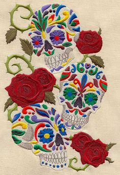 Embroidery Designs at Urban Threads - Sweet Skulls