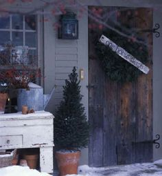 the doors, country porches, porch display, porch christma, rustic christmas, cozi porch
