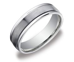 Men's 10k White Gold 6mm Comfort Fit Round Edge Wedding Band with Satin Center Ring, Size 9.5 $290.00