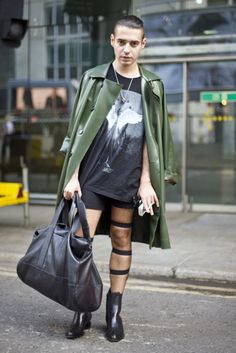 Street fashion - Green latex raincoat, London