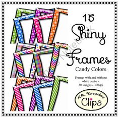 Shiny Frames - Candy Colors - Clip Art from KB Konnected Clips on TeachersNotebook.com -  (30 pages)  - These frames will pop off your pages with Christmas shine!Includes 14 png frames with and without white centers. 28 images in all.  3 Chevrons 5 Plaids 3 Snowflakes 3 Polka-dots