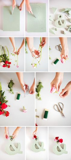 "Red, pink, and orange fresh flower DIY project! The ""and"" or ""amper"" sign of fresh flowers."