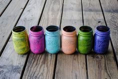 6 Color Choices 3 Textured Spring Mason Jars by EasternTrend, $17.00 #easterntrend #handmade