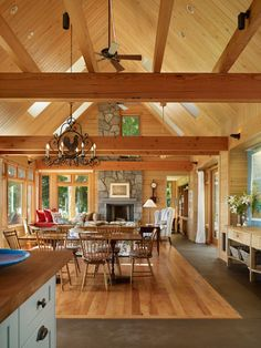 cape cod style, architects, living rooms, open floor plans, exposed beams