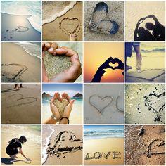 love on the beach - sand - ocean - hearts - waves - sun - fun