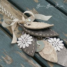 leather and lace necklace covet stuff, leather jewelri, lace necklac, crafti shananigan, necklaces, leaves, wooden crates, diy, garden