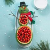 snowman party appetizers, holiday, christmas parties, fruit bowls, fruit salads, food, christmas treats, snowman, watermelon