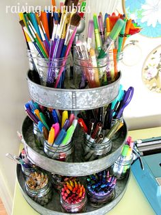 Love this organized craft room, but this is seriously simple and cheap and genius! pen, idea, marker, organ, mason jars, art supplies, kid, crafts, craft rooms