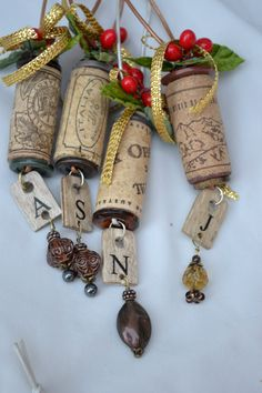 Wine cork ornament #Christmas