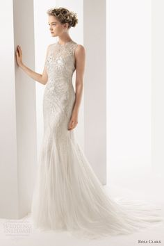 rosa clara bridal 2014 soft ulric sleeveless high neck beaded sheath wedding dress
