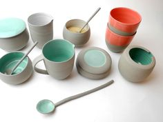 Ice green, tangerine tango and white with concrete grey Stone & Color collection of tableware