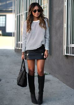Le stripes. <3 fashion, tall boots, knee high boots, leather skirts, black boots, outfit, mini skirts, knee highs, stripe