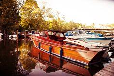 vintage, wooden, boat, mahogany