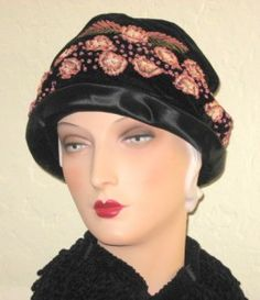 Circa 1920s Satin Cloche with Ribbon Flowers and French Knots