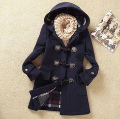 Dark blue  wool coat jacket parkas woolen loose blouse plus size dust coat claw clasp long coat trench coat windcheater out coat thick coat on Etsy, $85.00