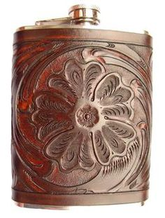 tooled leather flask