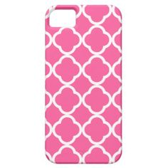 Hot Pink Quatrefoil iPhone 5 Cases