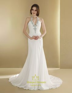 Halter Wedding Dress With Long Train,Simple Halter Neck Wedding Dresses