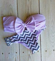 swimwear, bikini, bow, chevron stripes, summer, beach, bandeau, sexy, cute