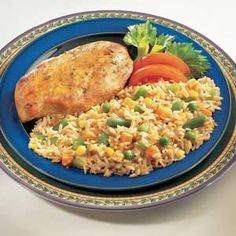 Vegetable Rice Pilaf  Green and red bell pepper pieces are sauteed with garlic, basil and rice; and then simmered gently in chicken broth. Colorful mixed vegetables are stirred in to finish this fragrant and attractive dish.