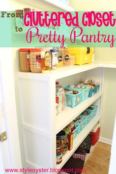 Style Oyster: Closet Turned Pretty Pantry - cute dollar store baskets as pantry storage!
