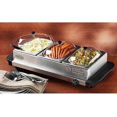 Living by Nostalgia Mini 3-Station Buffet Server with Warming Tray, BCD332