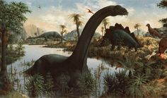When I was a child I had a poster of this Rudolph Zallinger painting that was 10 ft wide and had been supplemented with the scientific name of each dinosaur in the painting.