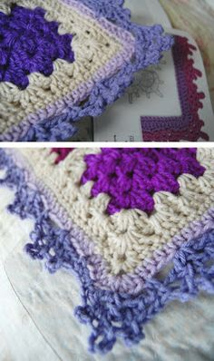 Edging used on a granny blanket.   tillie tulip - a handmade mishmosh: Having fun with edgings
