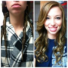 NO-Heat Wavy Hair Tutorial. I have stick-straight hair and I just barely did this—it works great, and all you have to do is twist it and let it air-dry!!