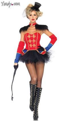 The four-piece, Ring Mistress costume includes a bustier, tutu skirt, epaulette neck piece and sleeves