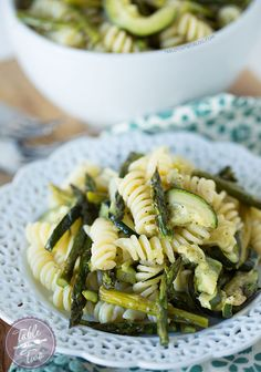 A quick and easy grilled asparagus and zucchini pasta.