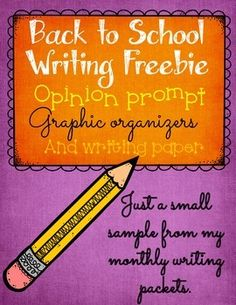 Back To School Writing Freebie:  writing prompt, graphic organizers, and writing paper