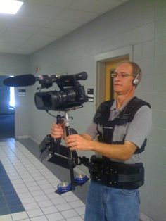Don Anderson with the glide camera during a promotion shoot.