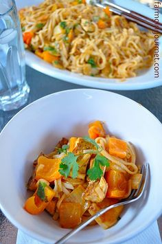 Crispy Tofu & Rice Noodles with Coconut Red Curry Sauce