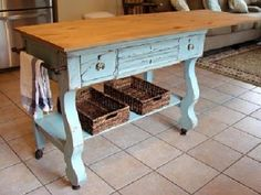 kitchen carts, colors, writing desk, small kitchens, desks, mustard seeds, craft tables, antiqu, kitchen islands