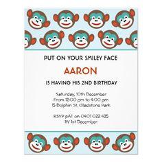 Cute Sock Monkey Birthday Party Invitation for boys
