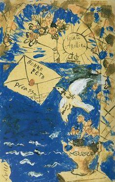 La carte postale de Pablo Picasso à Guillaume Apollinaire by Pablo Picasso