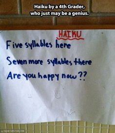 Haiku by a 4th grader genius