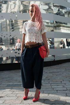 Lace top, cropped wide leg pants, heels.