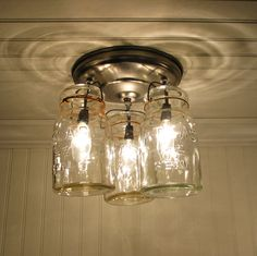 Vintage Canning Jar ceiling light. Also in Oiled Bronze or Antique Black. $149.